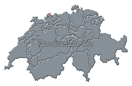 map of swizerland basel stadt highlighted