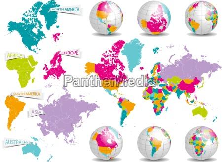 mapa del mundo con los continentes