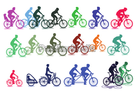 cyclist set illustrationisolated