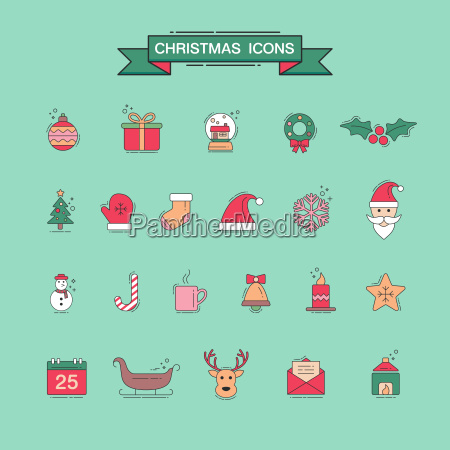 christmas element icons for designs postcard