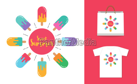 sweet summer background ice cream icon